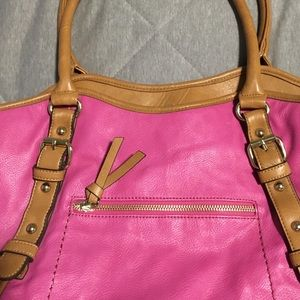 Aldo hot pink with tan trim tote